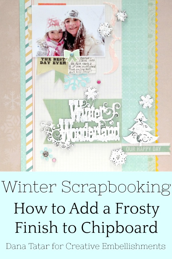 Winter Wonderland Snow Day Scrapbook Layout with Frosty Chipboard Embellishments