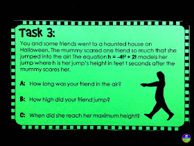 Fun with Quadratics | quadratic word problem task cards