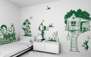 Idea creativa para decorar la pared en una habitación para niños