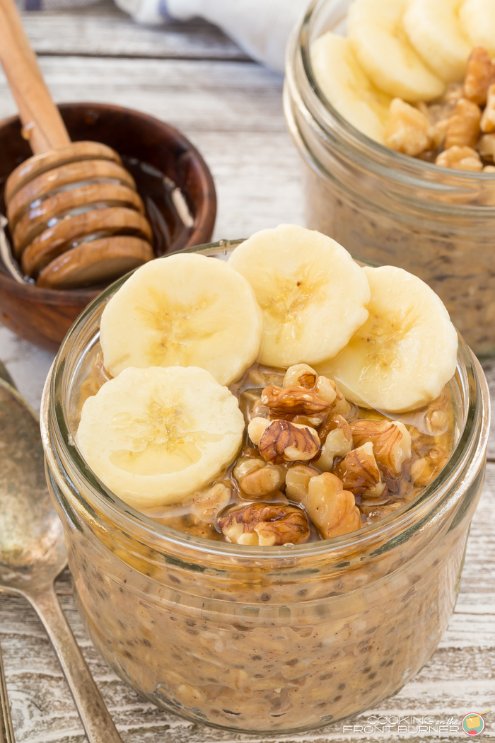 Get out of bed sleepy head and enjoy this Banana Peanut Butter oatmeal you made the night before!  Also made with chia seeds, honey and walnuts so it's a healthy breakfast.