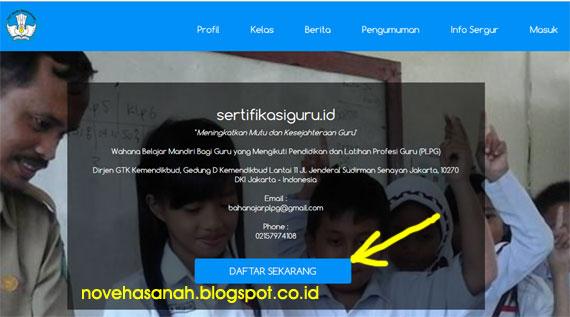 cara mendaftar dan menggunakan halaman depan situs sertifikasiguru.id wahan belajar mandiri PLPG 2016