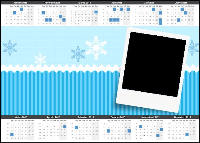 Calendario 2015 para imprimir gratis de Frozen en Navidad Azul