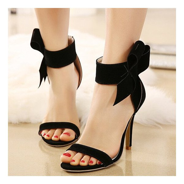 Leila Black Ankle Straps Bow Stiletto Heel Sandals