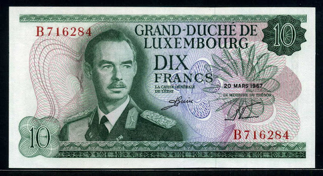 Luxembourg banknotes currency 10 Francs banknote