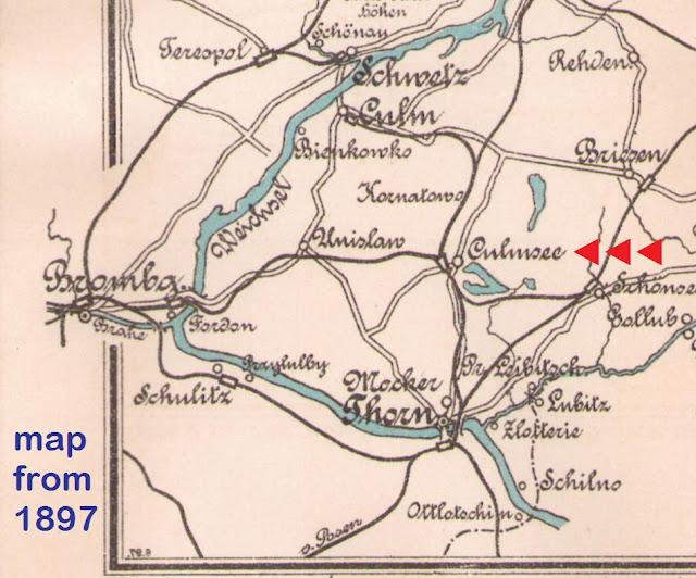 Culmsee Karte 1897 Weichsel (Vistula) Rudern (rowing) cut