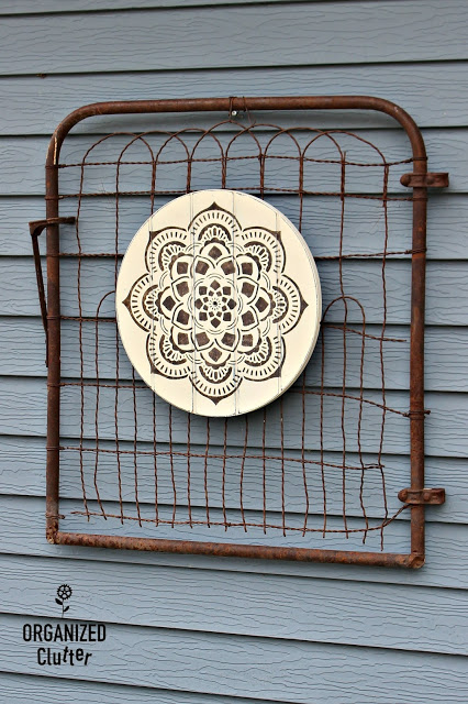 Rummage Sale Wooden Clock Face Repurposed As Mandala Sign