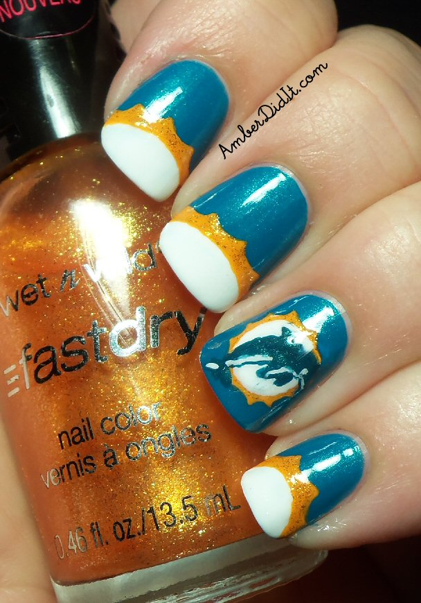 Amber did it!: NFL Nail Art Series #4~ Miami Dolphins Nails
