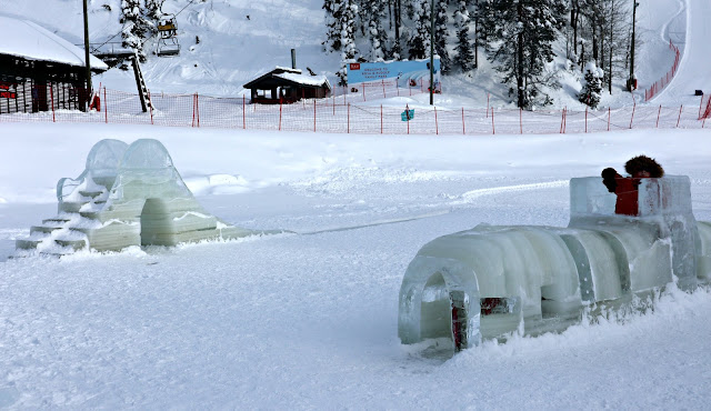 A slide and tunnel made entirely from ice.