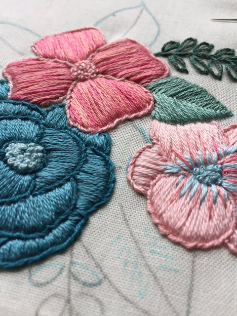 floral embroidery by The Messy Brunette on Twitter