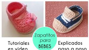 Tutoriales de Escarpines para Bebés de 0 a 3 Meses / Videos Crochet