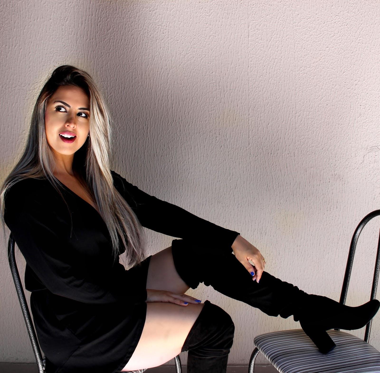 macaquinho preto manga longa bota over the knee bota schutz vivy rodrigues blog da vivy