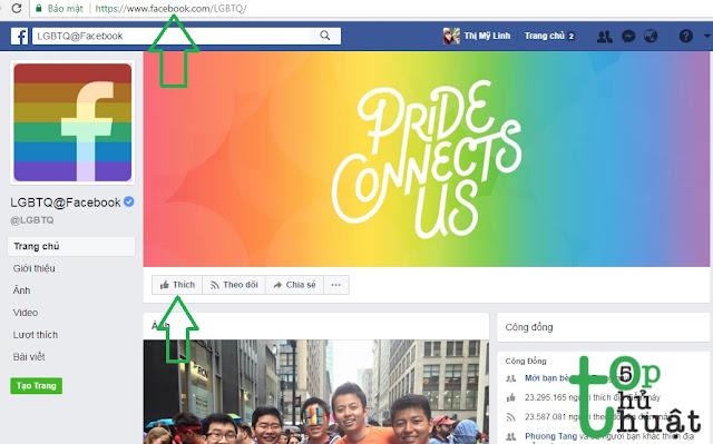 Click vào Fanpage LGBTQ@Facebook