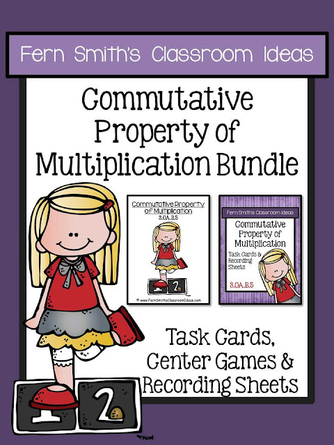 Fern Smith's Classroom Ideas Commutative Property of Multiplication Task Cards, Recording Sheets & Centers Bundle