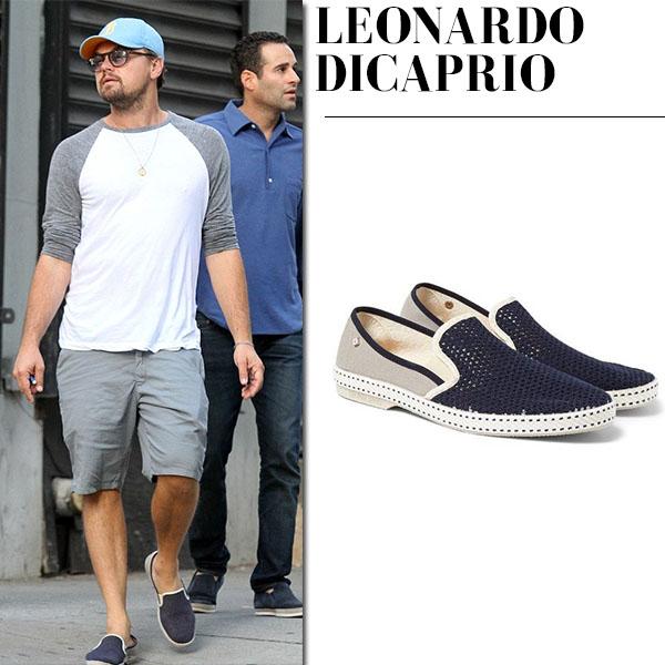 Leonardo DiCaprio in blue mesh slip on shoes rivieras vajoliroja mens casual style celebrity