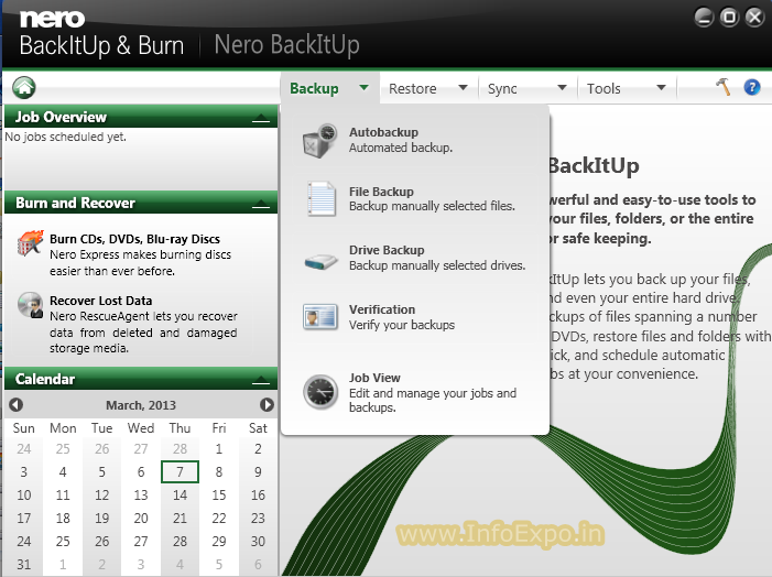 The best and easy-to-use backup tool NeroBackItUp & Burn   www.InfoExpo.in