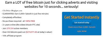 PTC Bitcoin Dengan Nilai PerKlik nya Cukup Besar dan Terpercaya