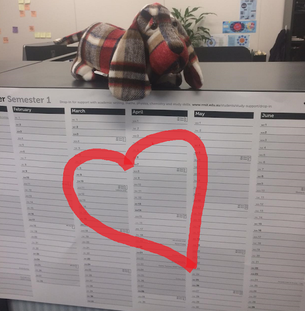 Study planner with a heart drawn on it