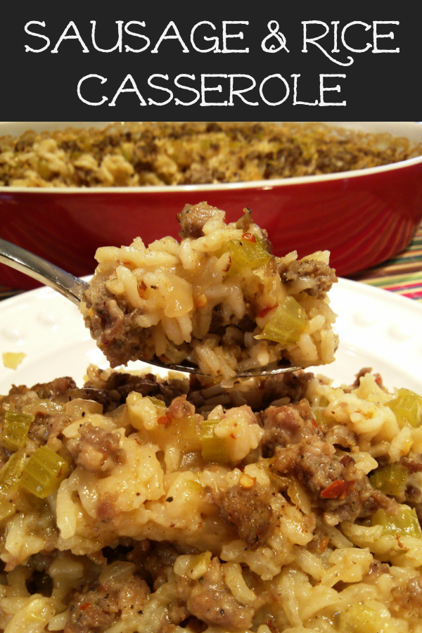 Sausage & Rice Casserole! A simple casserole recipe made with uncooked white rice and sausage perfect for supper, side dishes, potlucks and Thanksgiving (sometimes called Rice Dressing or Rice Stuffing).