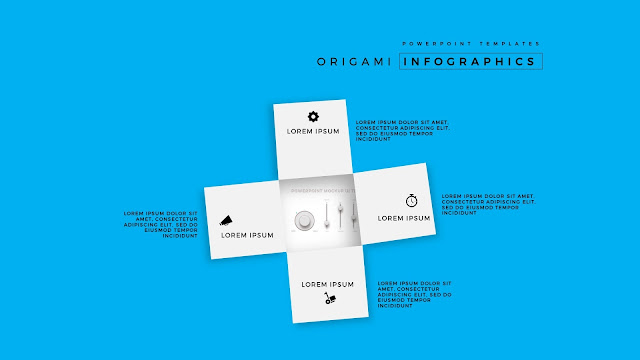 4 Icon options of Abstract Origami Infographics for PowerPoint Templates with Placeholder  in Blue Background