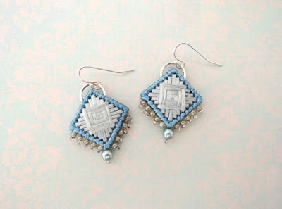 handstitched earrings by Bobbin and Fred