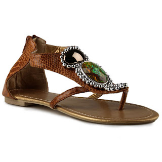 Sandal Flats Sidewalk Big Diamonds Gladiator Warna Coklat