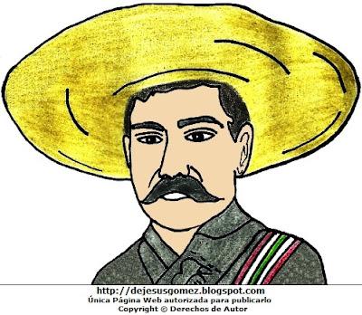 Dibujo de Emiliano Zapata para niños. Imagen de Emiliano Zapata a colores hecho por Jesus Gómez