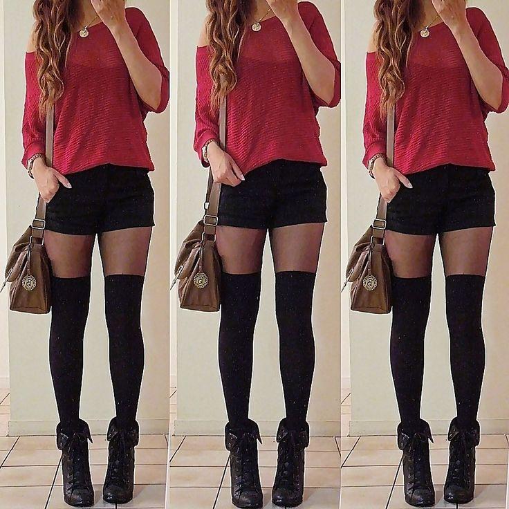 image Sexy brunetes ass en falda de cuero rojo