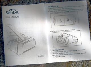 SimbR VR-Brille: spartanische Bedienungsanleitung