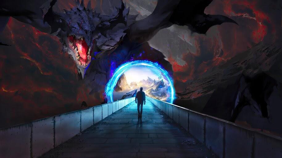 Dragon, Portal, Fantasy, Digital Art, 4K, #6.2171