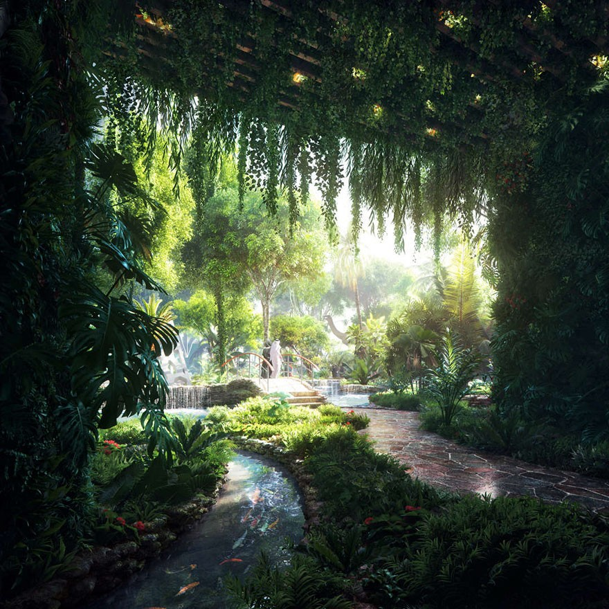 Dubai Has Plans To Open The World's First Hotel With A Rainforest Inside Of It - And this beautiful man-made rainforest with trees, bodies of water and more.