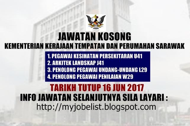 Jawatan Kosong Kementerian Kerajaan Tempatan dan Perumahan Sarawak Jun 2017