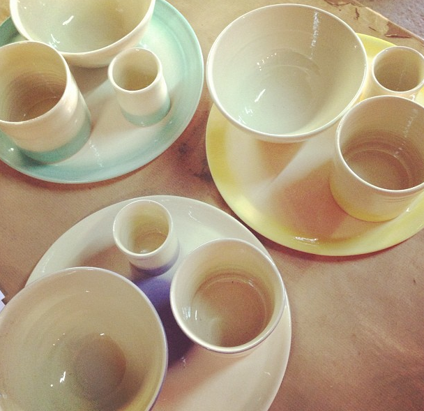 Set mouillettes et oeufs céramique pastel -lovmint
