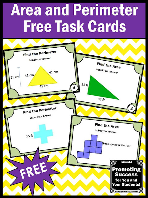 free area and perimeter task cards games activities