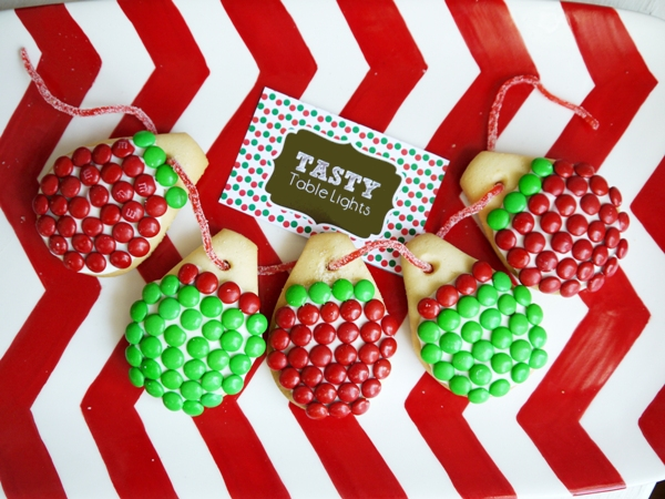 Christmas Lights Cookies with M&Ms Recipe - BirdsParty.com