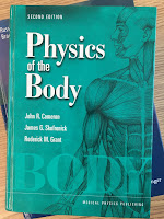 Physics of the Body, by Cameron, Skofronick, and Grant, superimposed on Intermediate Physics for Medicine and Biology.
