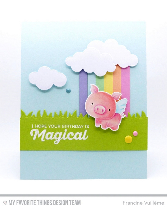 Handmade card from Francine Vuillème featuring Rainbow of Happiness and Birdie Brown Hog Heaven stamp sets, Grassy Fields and Puffy Clouds Die-namics #mftstamps