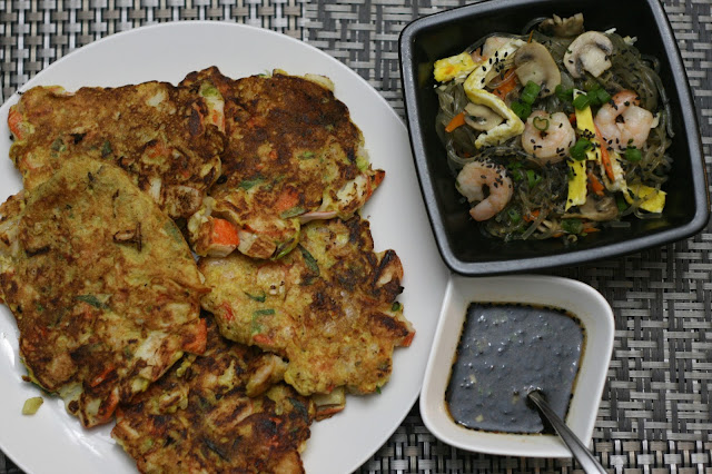 seafood fritters, japchae and more from Korean Food Made Simple from Judy Joo