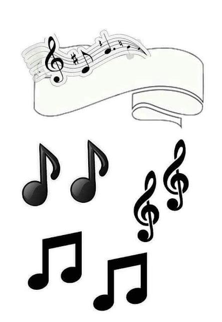 Música en Blanco y Negro: Toppers para Tartas, Tortas, Pasteles, Bizcochos o Cakes para Imprimir Gratis.