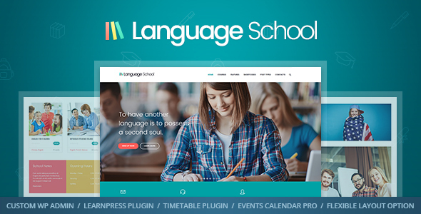 Language School - Courses & Learning Management System Education WordPress Theme Free Download