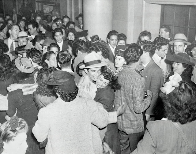 Zoot suit rioters celebrate after they are acquitted, October 26, 1944 kcet.org; photo: Bettmann/Getty Images