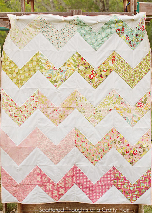 Make an Easy Chevron Quilt from Scattered Thoughts of a Crafty Mom