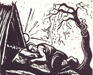 """פיתוח עץ של יעקב שטיינהרט, יונה מתעלף תחת השמש היוקדת כשמעליו הקיקיון מוכה התולעת. מתוך: ספר יונה שנדפס בפילדלפיה תשי""""ג (1953). מאתר הספריה הלאומית"""
