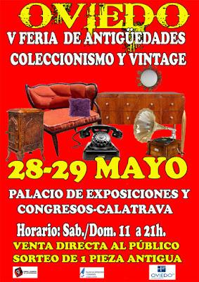 Cartel V feria de antigüedades y coleccionismo en Oviedo 2016