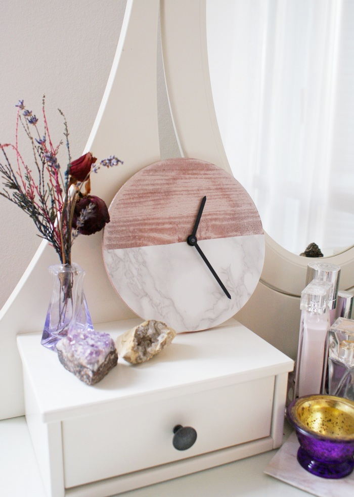 diy marble copper clock orologio