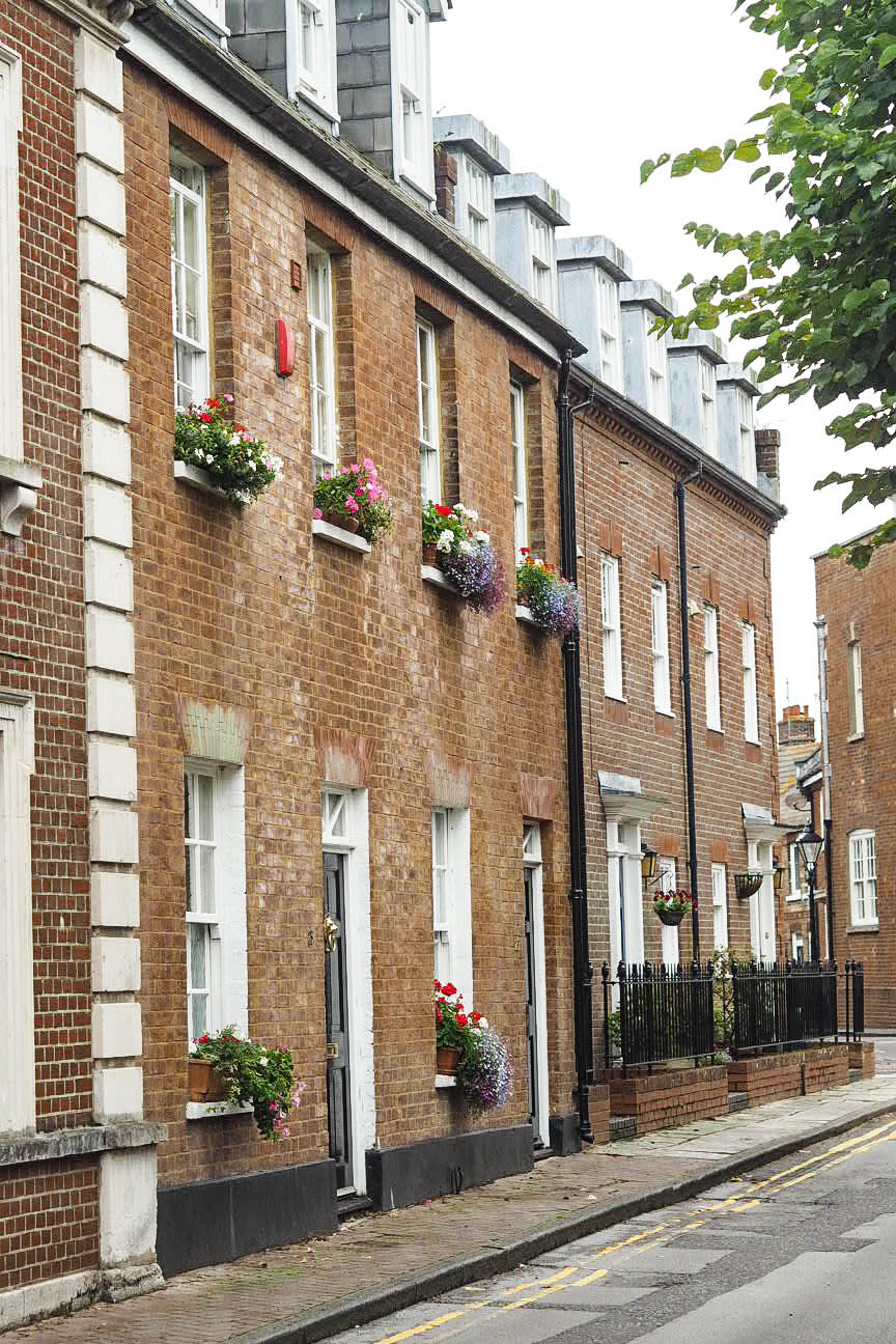 Terraced houses with flower boxes