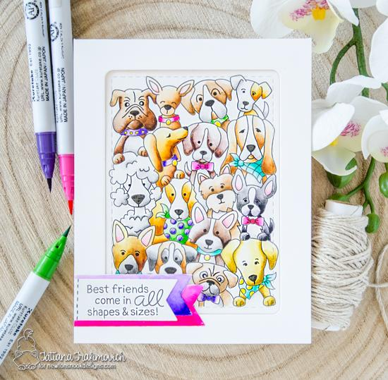 Best Friends Dog card by Tatiana Trafimovich | Woof Pack Stamp Set and Frames & Flags die set by Newton's Nook Designs #newtonsnook