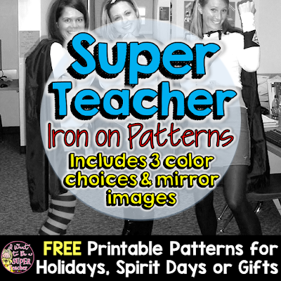 Free Super Teacher patterns you can use for Halloween or Spirit Days (cute and easy!) plus info on using iron-on paper for all of your crafty projects!
