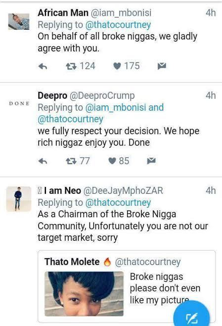 s - Savage! South African lady warns broke niggas not to like her photo and Twitter users dragged her