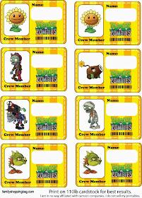 Etiquetas para Imprimir Gratis de Plantas vs Zombies.
