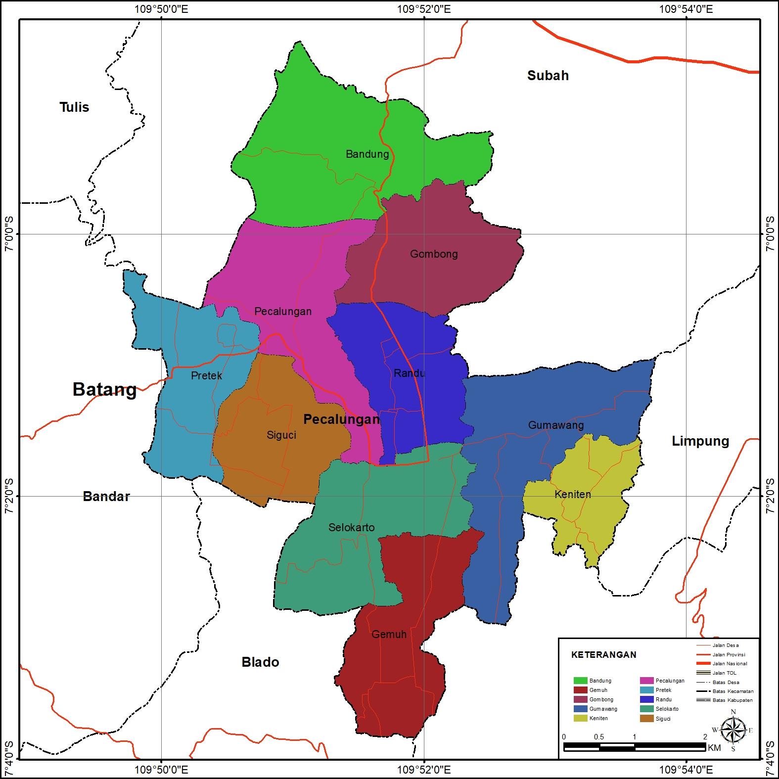 Peta Administrasi Kecamatan Pecalungan, Kabupaten Batang ...